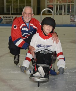 Mark Andrews, Founder/ Exec. Director Therapeutic Adventures - IndependencePlus Adaptive Sports (L) with partner Chloe Sutterfield (R) These two teamed up to be a formidable force to be reckoned with on the ice.