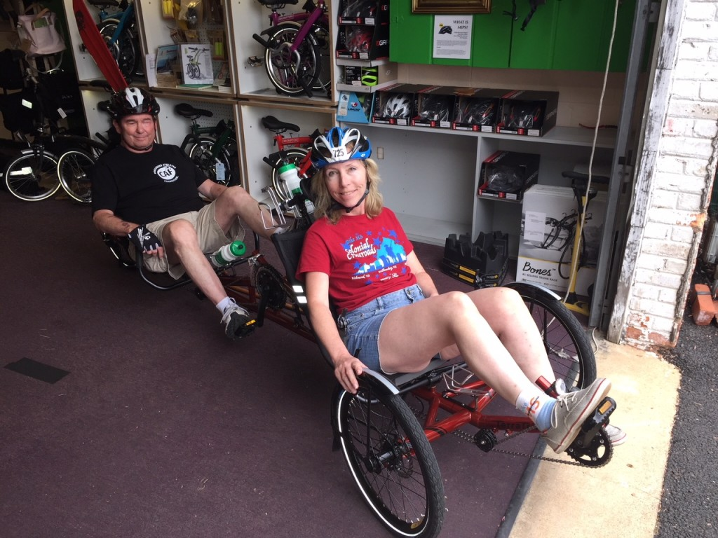 Ellen & Bill in new recumbent trike