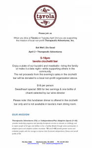 Tavola Dinner Info