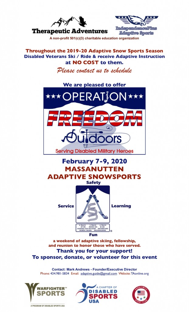 Operation Freedom Outdoors - Adaptive Snow Sports Information Sheet 2020